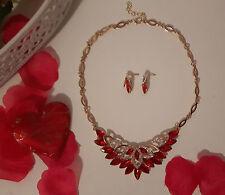 Schmuck Set Silber Gold Rot Halskette Ohrringe Ring Strass Collier Armband Neu!