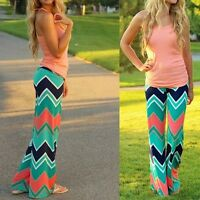 Women NEW Fashion Loose Stretch High Waist Wide Leg Long Pants Palazzo Trousers