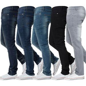 Enzo Mens Skinny Stretch Slim Fit Jeans Denim Trousers Pants All Waist Leg Sizes Ebay