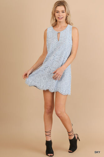 UMGEE Sky Blue Lace Detail Sleeveless Tunic Dress USA Boutique