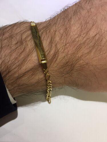 "3.50 g 3.5 mm 7 1//4/"" homme//dame 10k or Jaune Diamant Cut Figaro ID Bracelet"