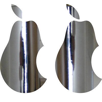 2 Adesivi Tatuaggio Pera 10cm Cromo Apple Verarsche Tablet Laptop Notebook Auto- Buona Conservazione Del Calore