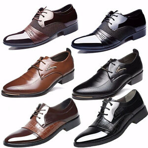 New Mens Business Dress Formal Oxfords Leather Shoes Flat Lace Up Casual Loafers