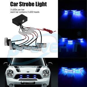 Bleu-18LED-voiture-Police-Dash-Strobe-Light-Flash-AVERTISSEMENT-Lampe-de-secours