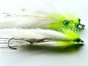 """6  Rutland 2/"""" WHITE HOT EYE SNAKE LURES Trout Flies by Iain Barr Fly Fishing"""