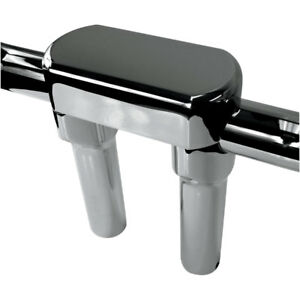 Drag-Specialties-6-034-T-Chrome-Handlebar-Risers-Top-Clamp-Kit-for-1-5-034-Bars-Harley