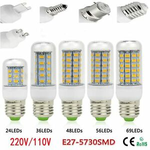 Energia-SMD-5730-Bulbo-De-La-Base-E27-Lampara-De-Maiz-LED-24-36-48-Cuentas