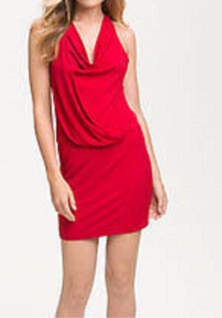 Laundry By Design Dress Sz 10 Rosa rot Cowl Neck Embellished Back Cocktail Dress
