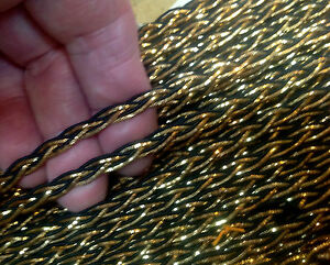 "Vintage Metallic 1/8"" Gold Black Trim Braid Edge 1yd"