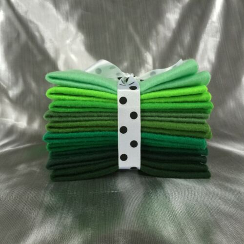 10 sheets Mix Felt Craft Pack of Green 10 Shades in 5 different sizes