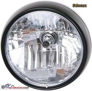 Klarglassscheinwerfer-Schwarz-6-1-2-165-mm-Yamaha-Honda-Suzuki-Kawasaki