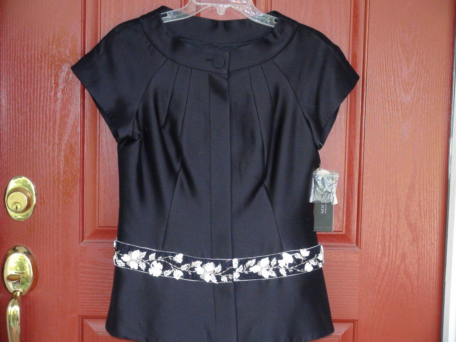 Ladies Evening Top Teri Jon-Ricki Freeman Designer schwarz Silk Wool 4 Cap Sleeve