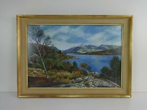 Original-Watercolour-Painting-Fred-Austin-Snowdon-amp-Llyn-Padarn-Wales-Landscape