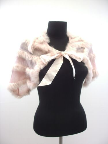 50/% Rabbit Fur Soft Pink Cape Shoulder Cape with Tie Bow Shawl Scarf onsz