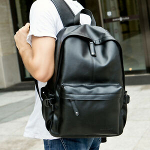 c78deb869c5b New Men s Vintage Faux Leather Solid Backpack Simple Bookbags Casual ...