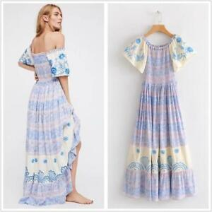 Womens-Off-shoulder-Long-Boho-Gypsy-Floral-Chic-Beach-Maxi-Peasant-Dress