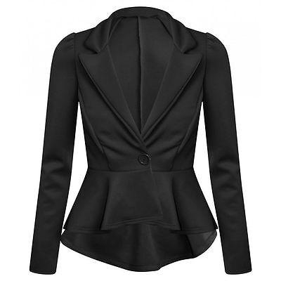 New Women's Ladies Crop Frill Shift Slim Fit Peplum Blazer Jacket Coat Size 8-26