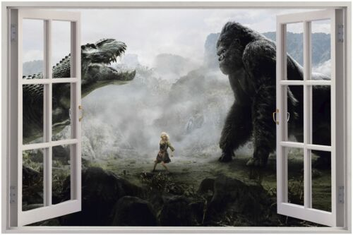 Huge 3D Window view Godzilla vs King Kong Wall Sticker Film Murall 38