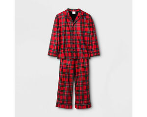 d718920f0c70 Boys Girls Kids Plaid 2-Pc LS Button-Down Red Plaid Holiday ...