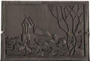 Antique Hand Carved Linoléum Printing Block Village église Scène. Uk Dispatch-afficher Le Titre D'origine 9qzadl8s-12155105-628469200