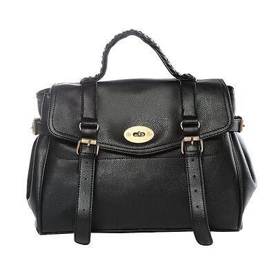 NEW Vintage Women PU Leather messenger Purse Handbag Shoulder Bag Brown/Black
