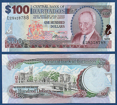 Provided Barbados 100 Dollars 2007 2009 71 B Unc P