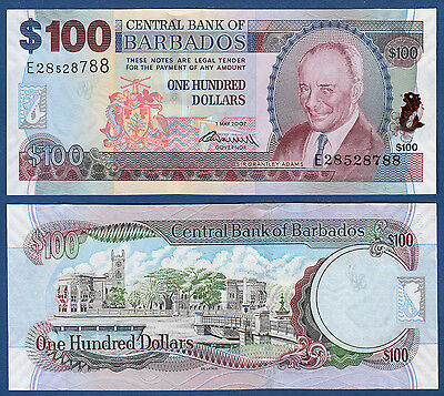 Provided Barbados 100 Dollars 2007 71 B Unc P 2009