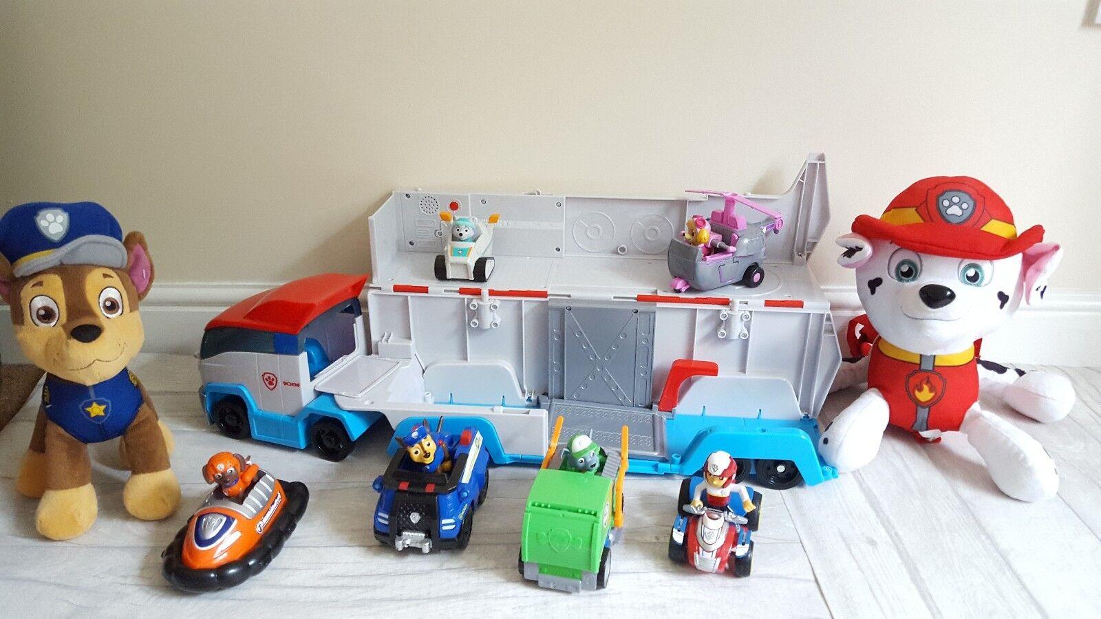 Paw patrol toys bundle figures, paw patrol patroller, plushes, van, aeroplane...