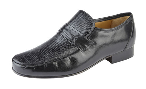 Mens Kensington Classics MK006 All Leather Black Reptile Print Moccassin Shoes