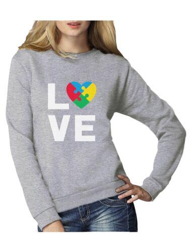 Autism Awareness Love Puzzle Piece Women Sweatshirt Support