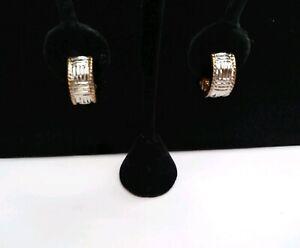 Vintage-Silver-amp-Gold-Tone-Huggies-Hoop-Clip-On-Earrings-3-4-034-Half-Round