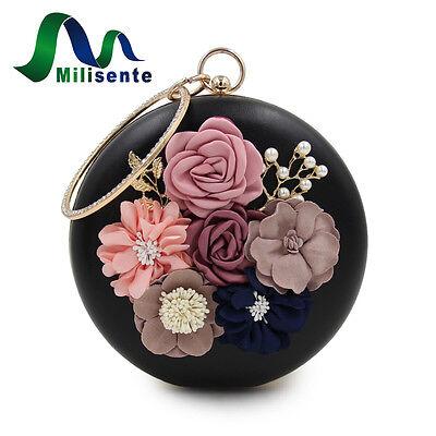 Milisente Flower Clutch Bags Round Shape Wedding Party Evening Handbag Black