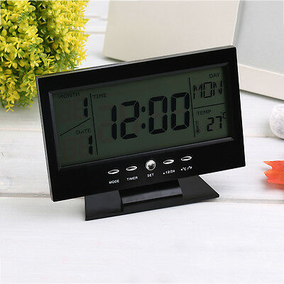 Voice Control Back-light LCD Alarm Desk Clock Weather Monitor Calendar D