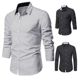 Mens-Long-Sleeves-Shirts-Polka-Dot-Formal-Slim-Multicolor-BusinessT-Shirts
