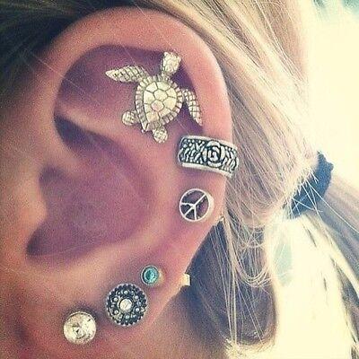 6Pcs/set Retro Women Boho Ear Stud Earrings Turtles Crystal Silver Tone Jewelry