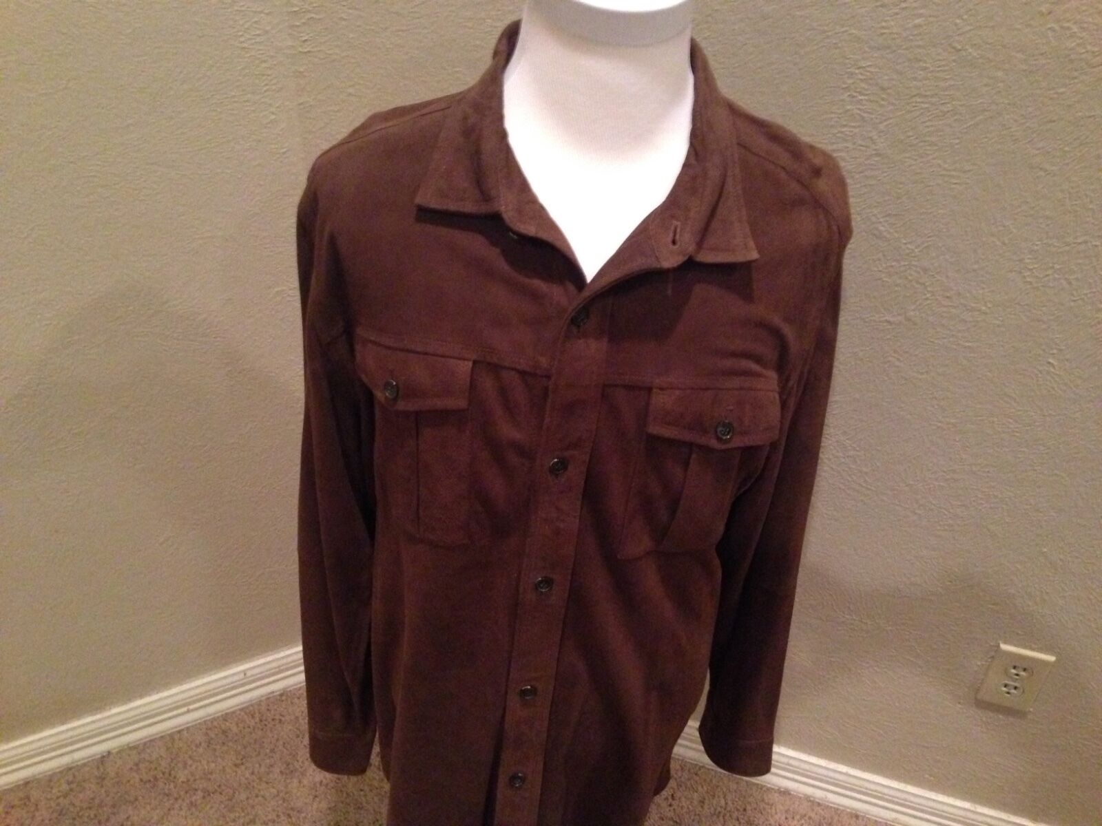 NEW 1295 Faconnable Suede Shirt XL