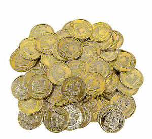 144 Gold Play Coins Pirate Loot Treasure Party Favors