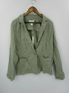 Caslon-Women-039-s-New-With-Tags-Green-Linen-Blazer-Jacket-Size-L