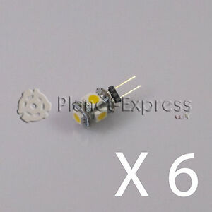 6-x-Bombilla-G4-5-Led-SMD-Blanco-Frio-80-Lumen-12V-DC-caravana-barco-coche-puro