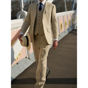 Cream-Linen-Men-039-s-Suit-Tuxedos-Causal-Soft-Summer-3-Pieces-Leisure-For-Wedding