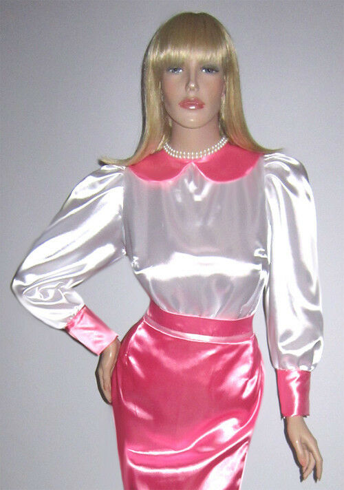 DELUXE BlauSE SATIN PVC PETER PAN KRAGEN SISSY ZOFE MAID TV NACH MASS (MBlauS104)
