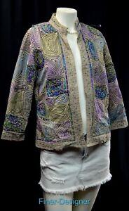 LifeStyle-Jacket-Distressed-light-Coat-Shabby-embellished-blazer-open-S-PS-New