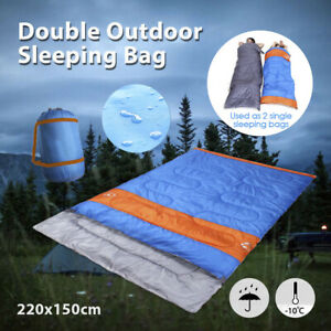 Sleeping-Bag-Bags-Double-Camping-Hiking-10-C-Tent-Winter-220x150cm