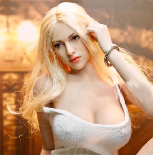 TBLeague Large Bust Suntan Seamless Body Blonde Hair Female Head 1 6 Figure Sets