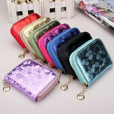 Women Leather Small Wallet Card Holder Zip Coin Mini Purse Clutch Lady Handbag