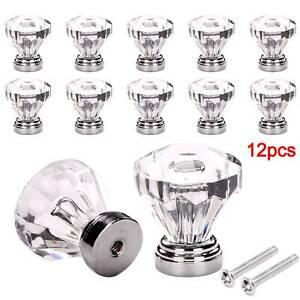 6pcs vintage diamond clear depression cut glass door drawer cabinet cupboard screen knob handle pull 1.4