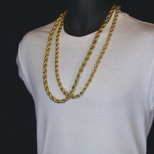 Mens 24K Gold Plated 10mm 8mm 30 Thick Rope Chain Hip Hop Style