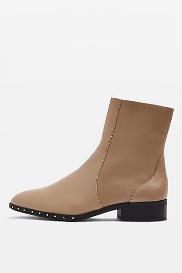 TOPSHOP 'kash' taupe Leder ankle sock Stiefel uk 5 eu once 38 us 7.5 worn once eu 5a563e