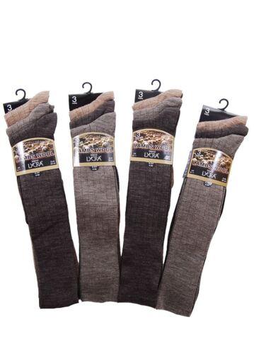 1 /& 3 Pairs Mens Long Hose Lambs Wool Blend Plain Socks Browns /& Black
