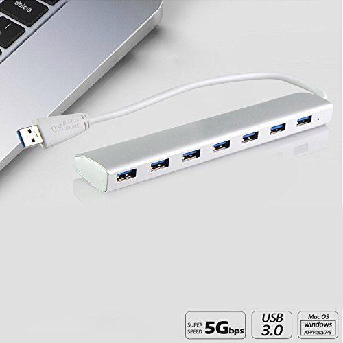 7 Port Aluminum USB 3.0 HUB 5Gbps High Speed For PC Laptop Tab EU PLUG